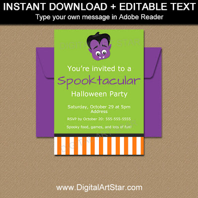 kids vampire invitation for halloween