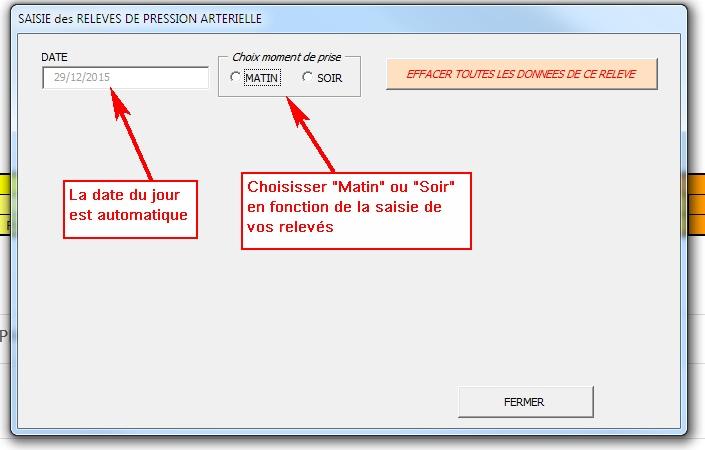 PRESSION ARTERIELLE (Gestion des relevés) - Cellules EXCEL