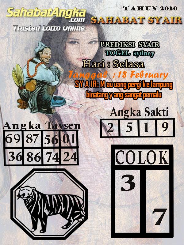 Prediksi Togel Sidney JP 18 februari 2020 - Sahabat Syair