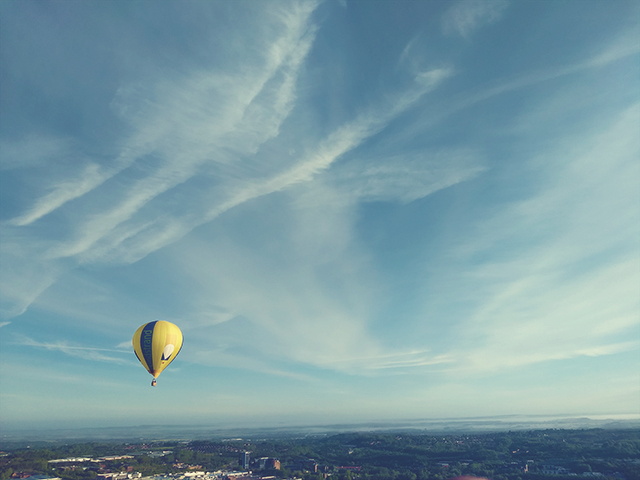 Hot air balloon flying over Shropshire
