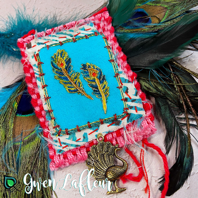 Gwen Lafleur PaperArtsy May 2021 Stamp Release - EGL18 Embroidered Peacock Feathers Embellishment