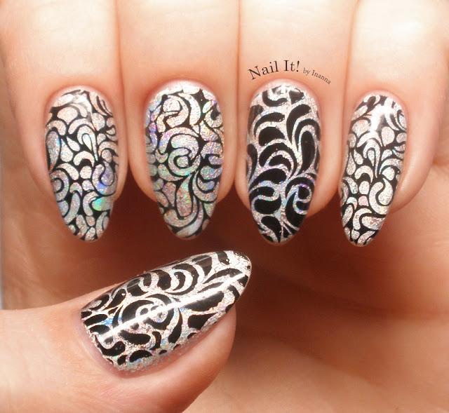 Transferowa folia na hybrydzie / Tranfer foil on hybrid nail polish