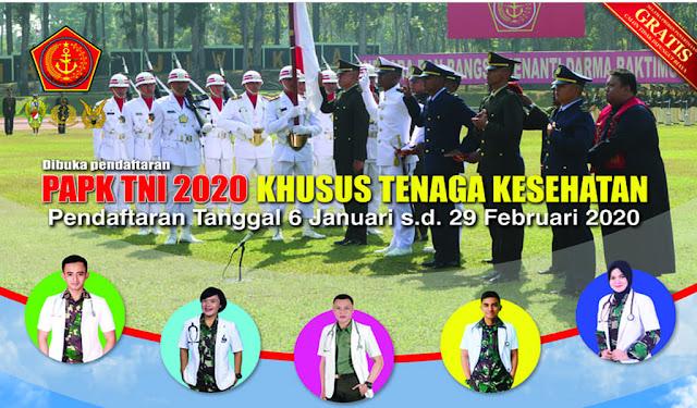 Penerimaan Calon Perwira Prajurit Karir (PAPK) TNI Khusus Tenaga Kesehatan Tahun 2020