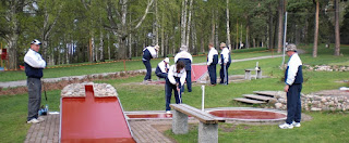 The GB team playing the Beton Concrete Minigolf course in Tampere, Finland