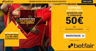 betfair supercuota España gana a Malta 26 marzo 2019