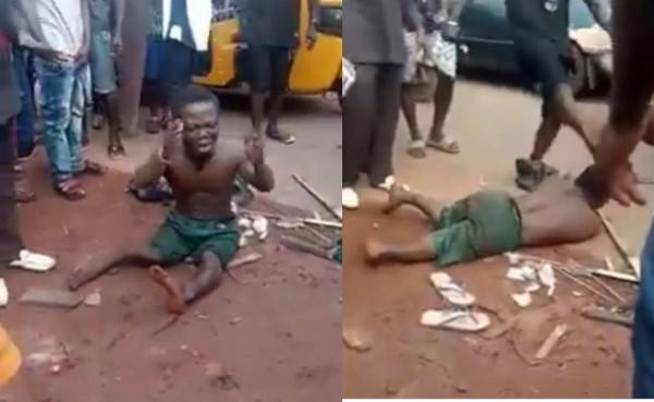 Dwarf beaten mercilessly over missing penis in Enugu (video)
