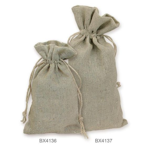 A pair of pouch bags in burlap used to store gemstones.
