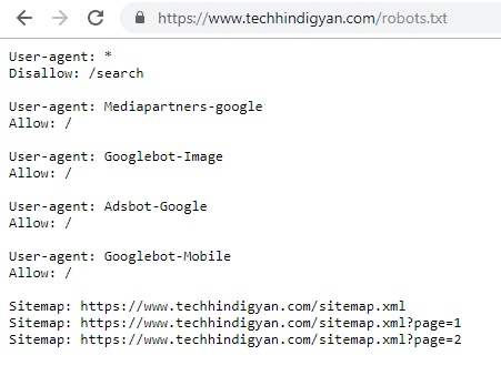 Robots.txt File of TechHindiGyan.com