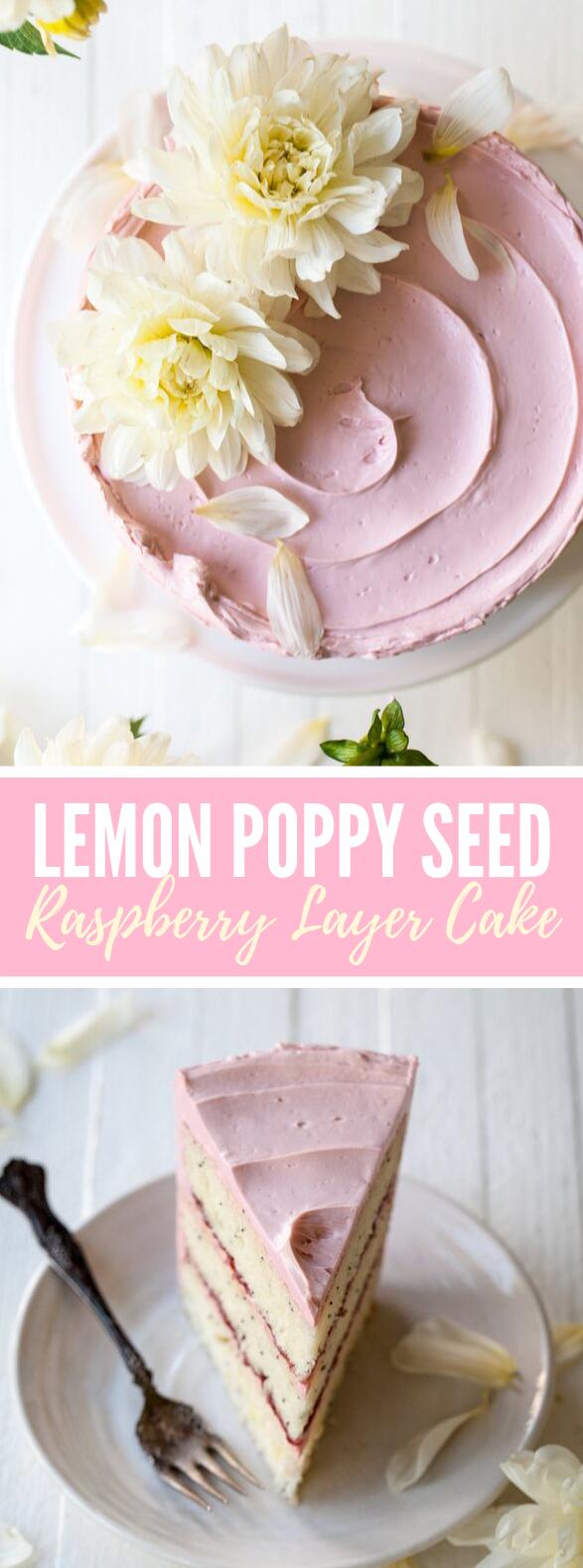Lemon Poppy Seed Raspberry Layer Cake #desserts #frosting