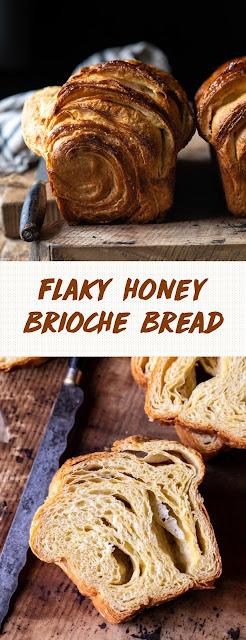 Flaky honey brioche bread.