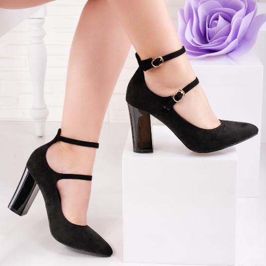 Pantofi negri cu tocul gros confortabili si barete subtiri