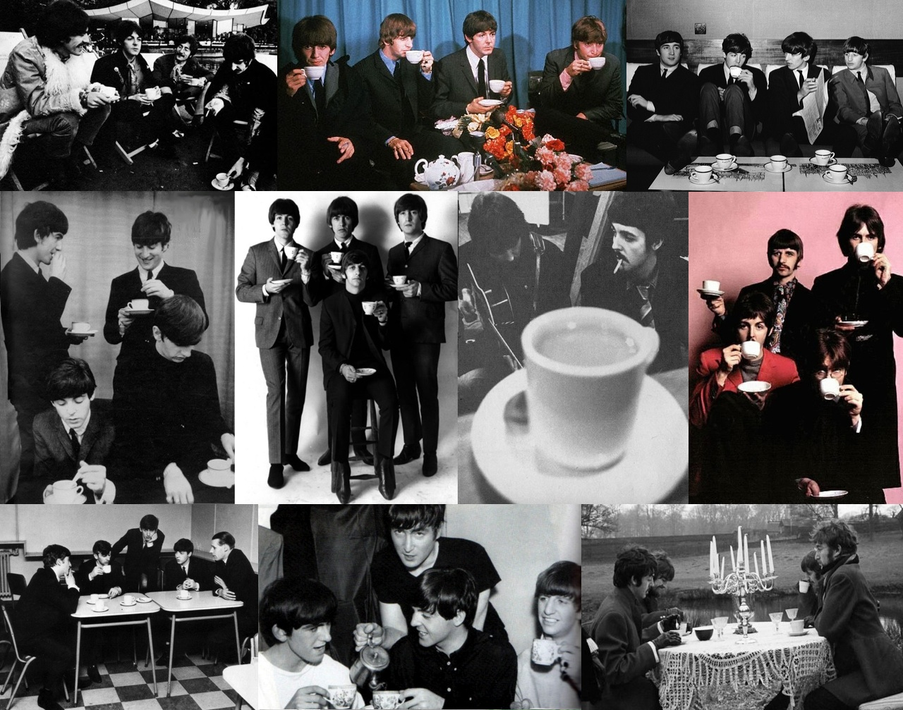 the Beatles drinking tea