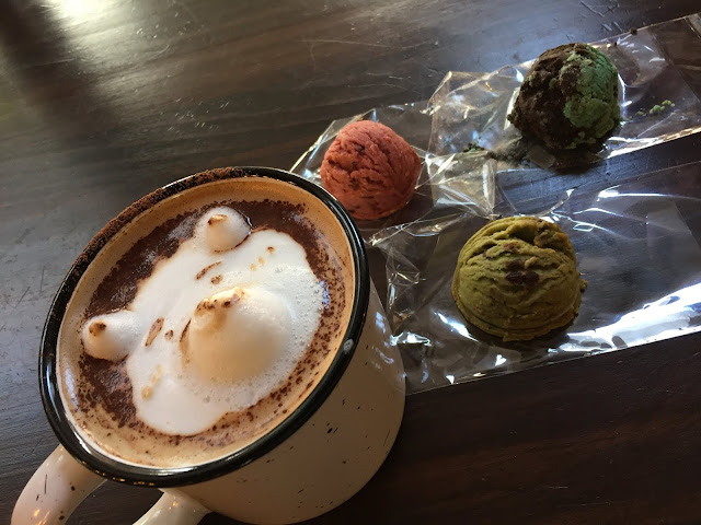 Adorable Mocha Latte and scoopable scones from Coffee Speaks.
