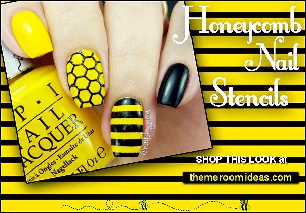Honeycomb nails Honeycomb nail stencils  Honeycomb nail designs Bee nail art designs Honeycomb Nail Art honeycomb nail wraps honey bee nails