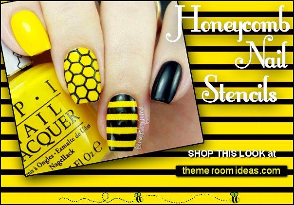 Honeycomb nails Honeycomb nail stencils  Honeycomb nail designs Bee nail art designs Honeycomb Nail Art honeycomb nail wraps honey bee nails