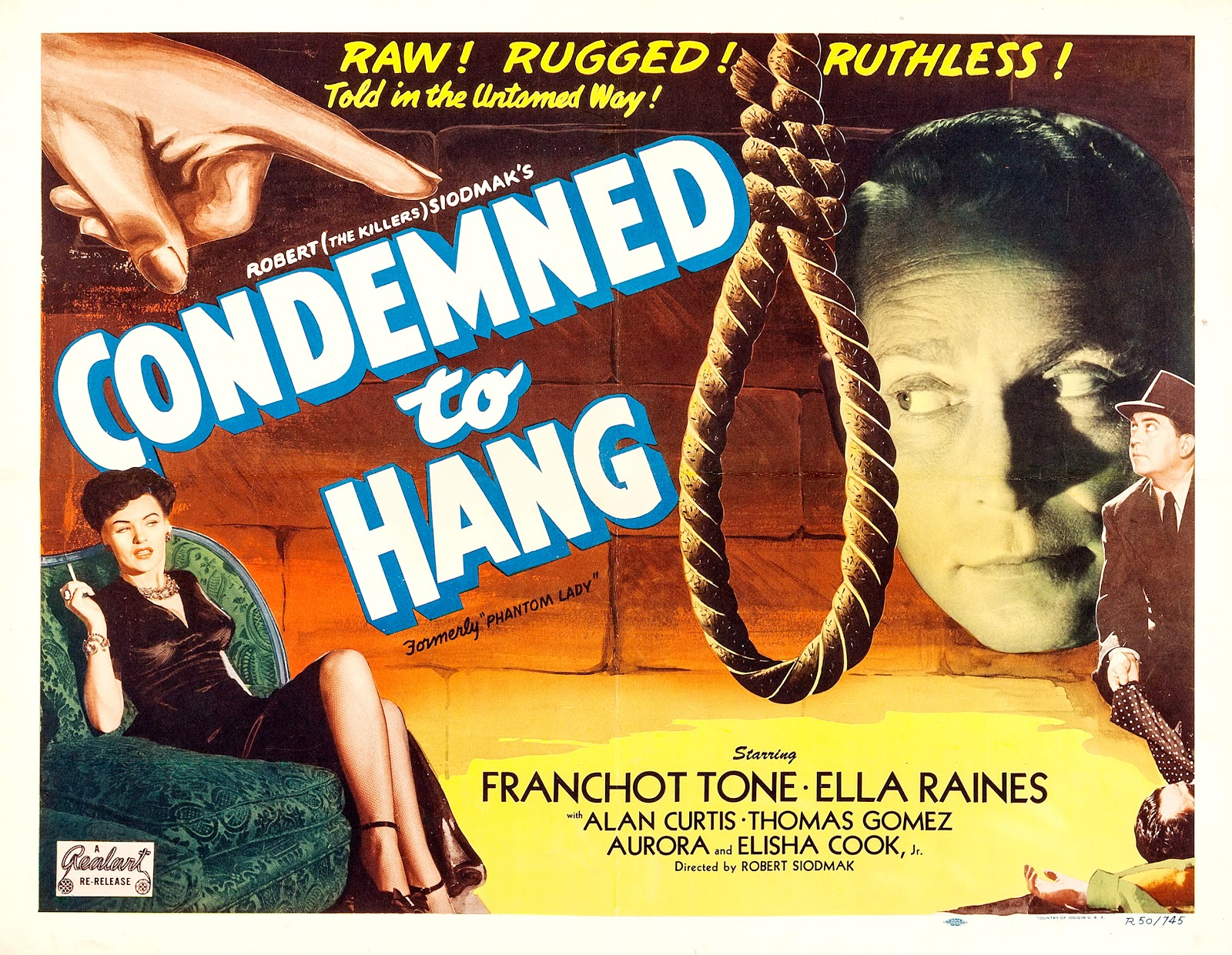 Phantom Lady aka Condemned to Hang (1944) US 1950 re-release lobby card
