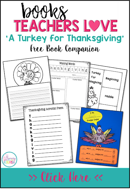 This book companion has various 'Thanksgiving' cross-curricular activities: Reading: Retelling the story, Spelling: Word making with the word: Thanksgiving, Poetry: Acrostic Poem, Math: Turkey Fractions