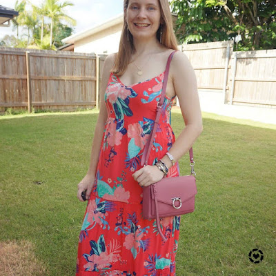 awayfromblue Instagram | Kmart Tropicana sleeveless tiered maxi dress with bracelet stack and Jean MAC bag