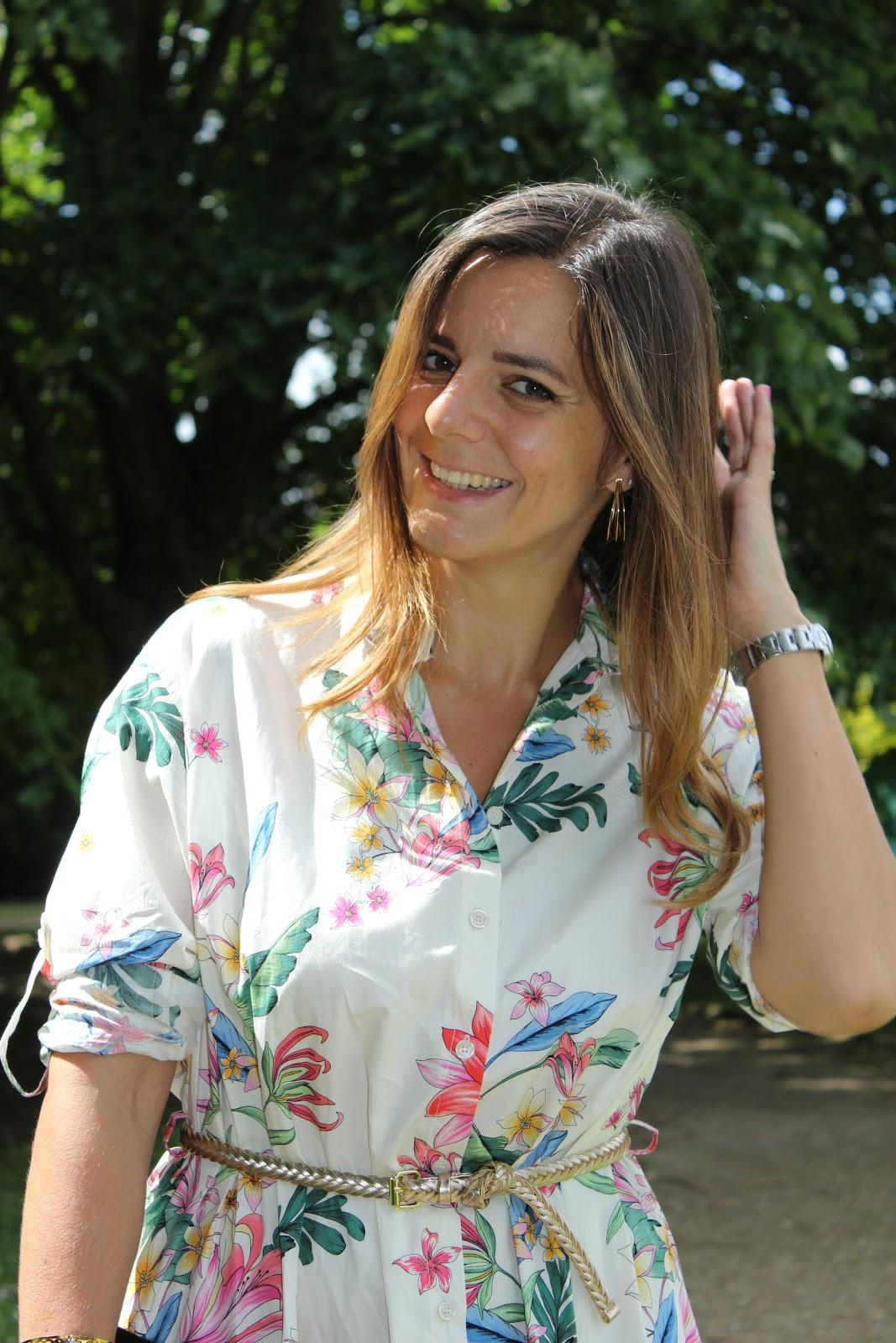 robe chemise zara à fleurs, escarpins minelli, les petites bulles de ma vie