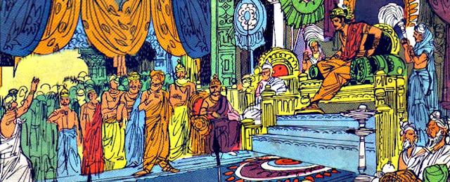 Yudhishthira in his court