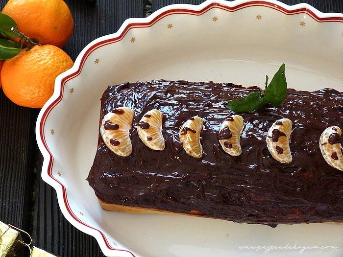mandarinas, y pastel de chocolate con mandarina
