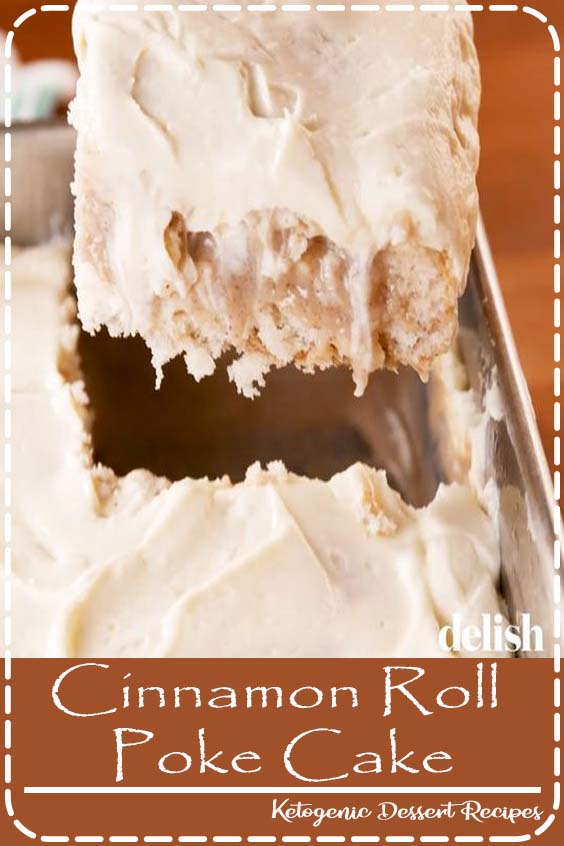 Pull out this Cinnamon Roll Poke Cake from Delish.com at the end of the meal, and you'll be the most popular person in the room. #dessert #cinnamon #cake