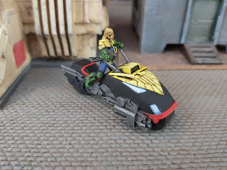 Judge Anderson and a Lawmaster by Warlord Games
