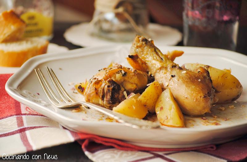 Pollo macerado con pimentón de la Vera al horno-cocinando-con-neus