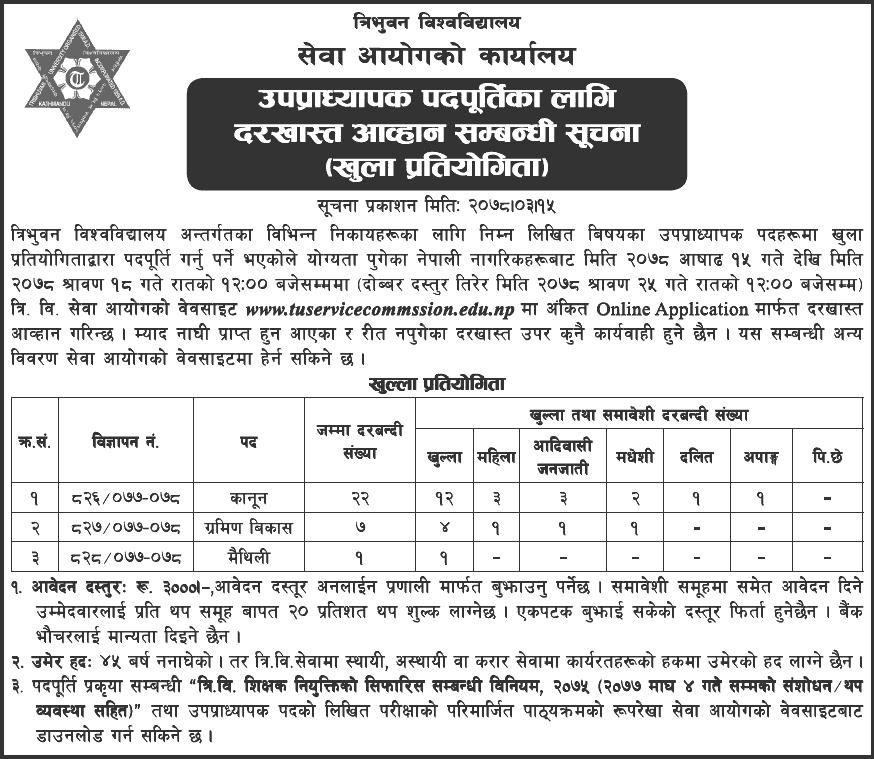 Tribhuvan-University-Service-Commission-(TUSC)-Vacancy-for-Associate-Professor-2078