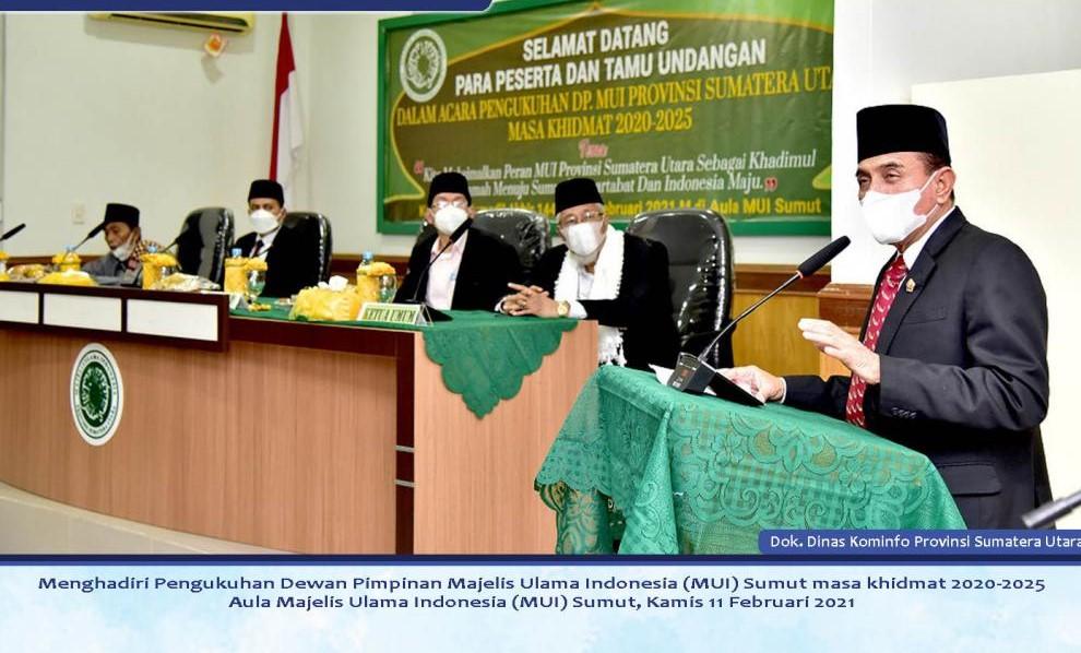 Gubernur Sumut Menghadiri Pengukuhan DP MUI Sumut Masa  Khidmat 2020-2025