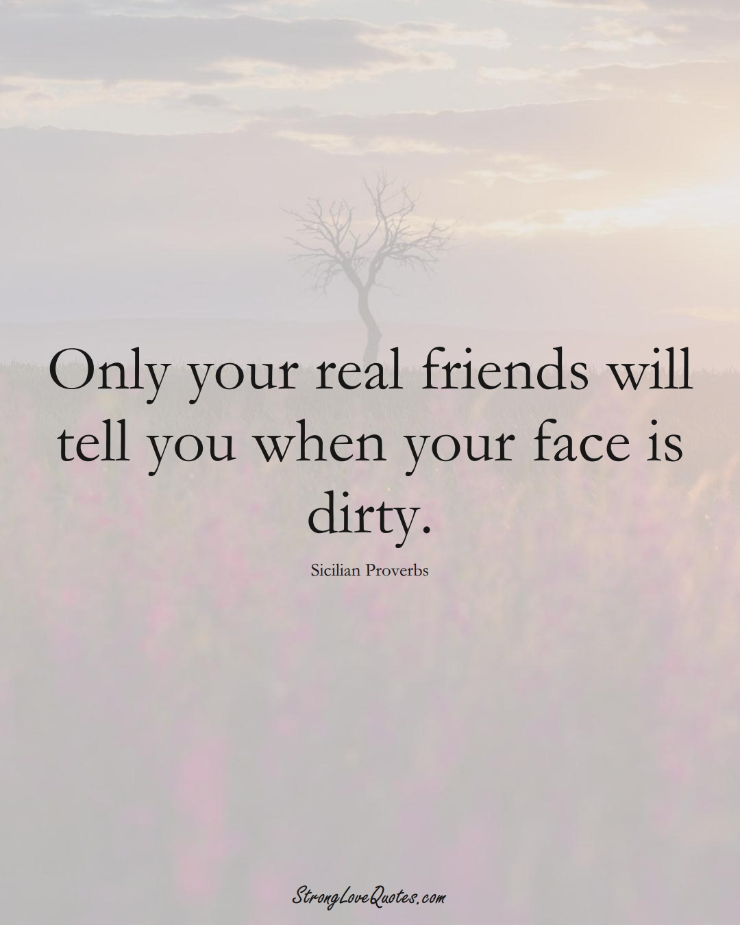 Only your real friends will tell you when your face is dirty. (Sicilian Sayings);  #EuropeanSayings