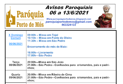 Avisos Paroquiais - 6 a 13 de Junho 2021