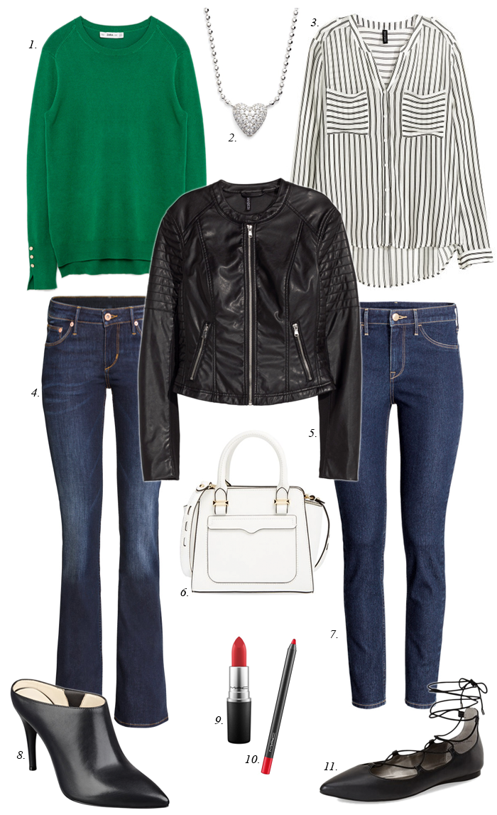 green sweater, striped blouse, moto jacket