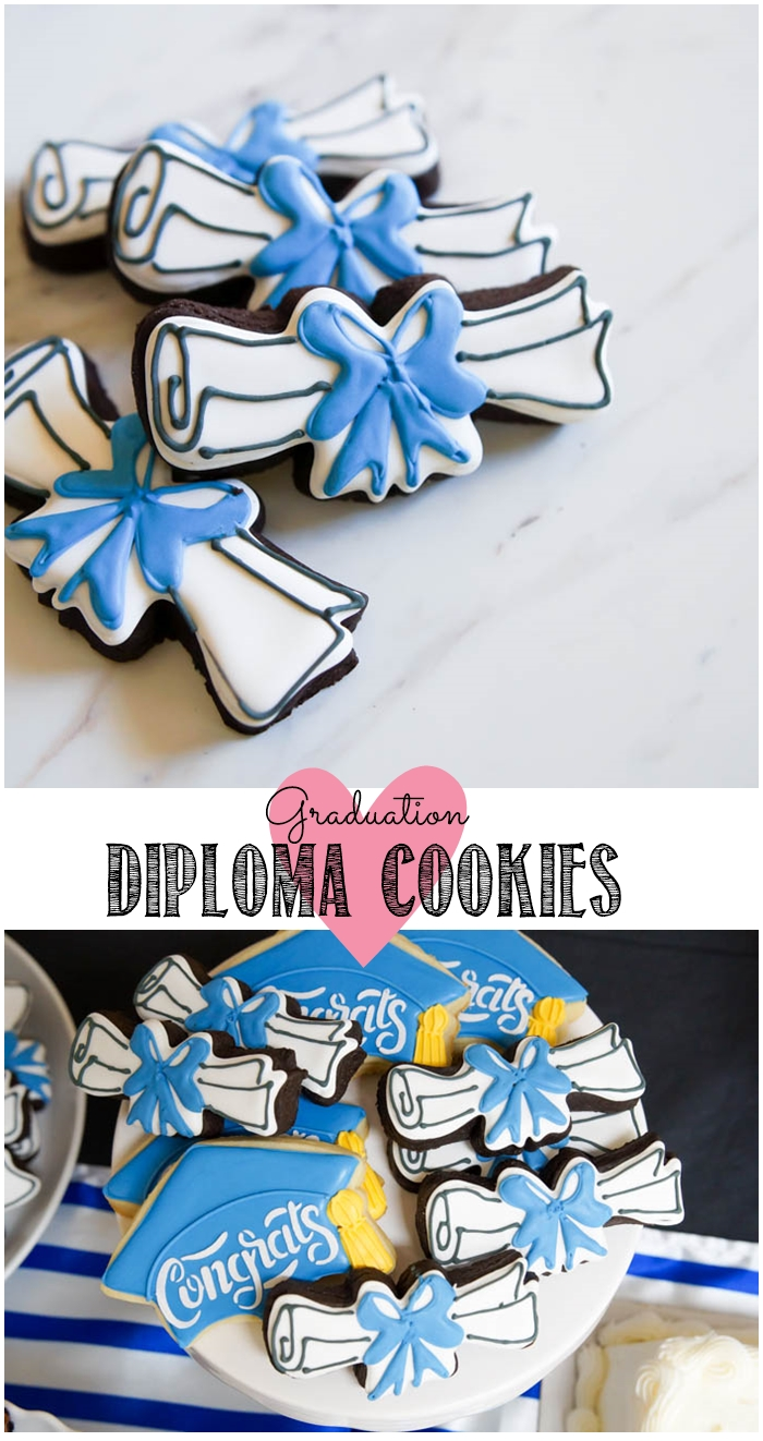 Graduation Diploma (with bow!) Cookies + Dark Chocolate Cut-Out recipe | bakeat350.net