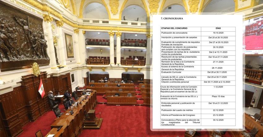CONGRESO DE LA REPÚBLICA: Este es el cronograma para el proceso de selección de los nuevos miembros del Tribunal Constitucional