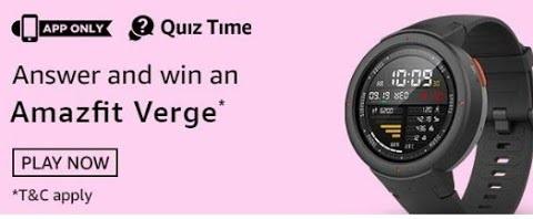 Amazon Amazfit Quiz All Answers to Win Amazfit Verge