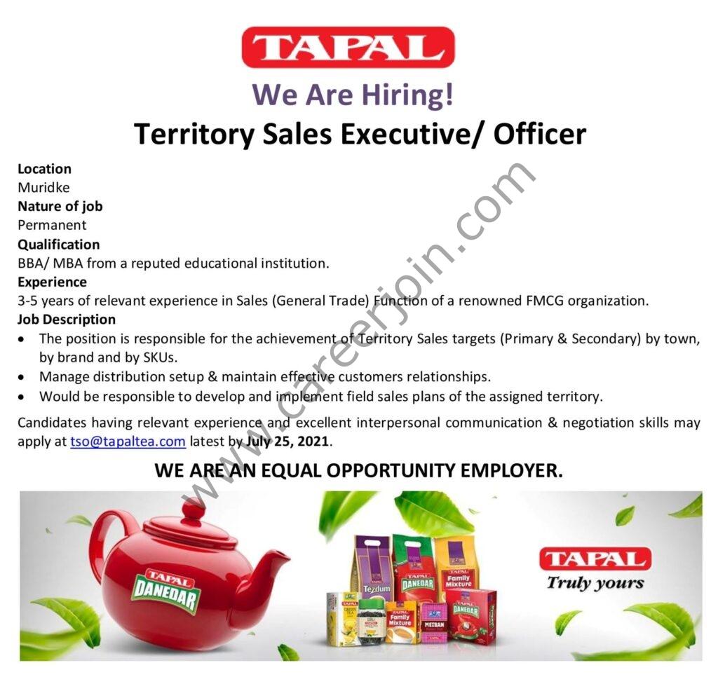 Tapal Tea Pvt Ltd Jobs Territory Sales Executive / Officer: