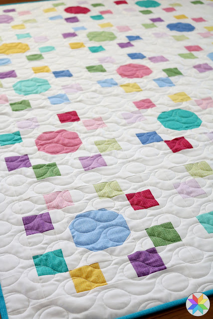 "Spot On quilt pattern by Andy of A Bright Corner - made with precut 10"" squares Color Weave fabrics from Benartex"