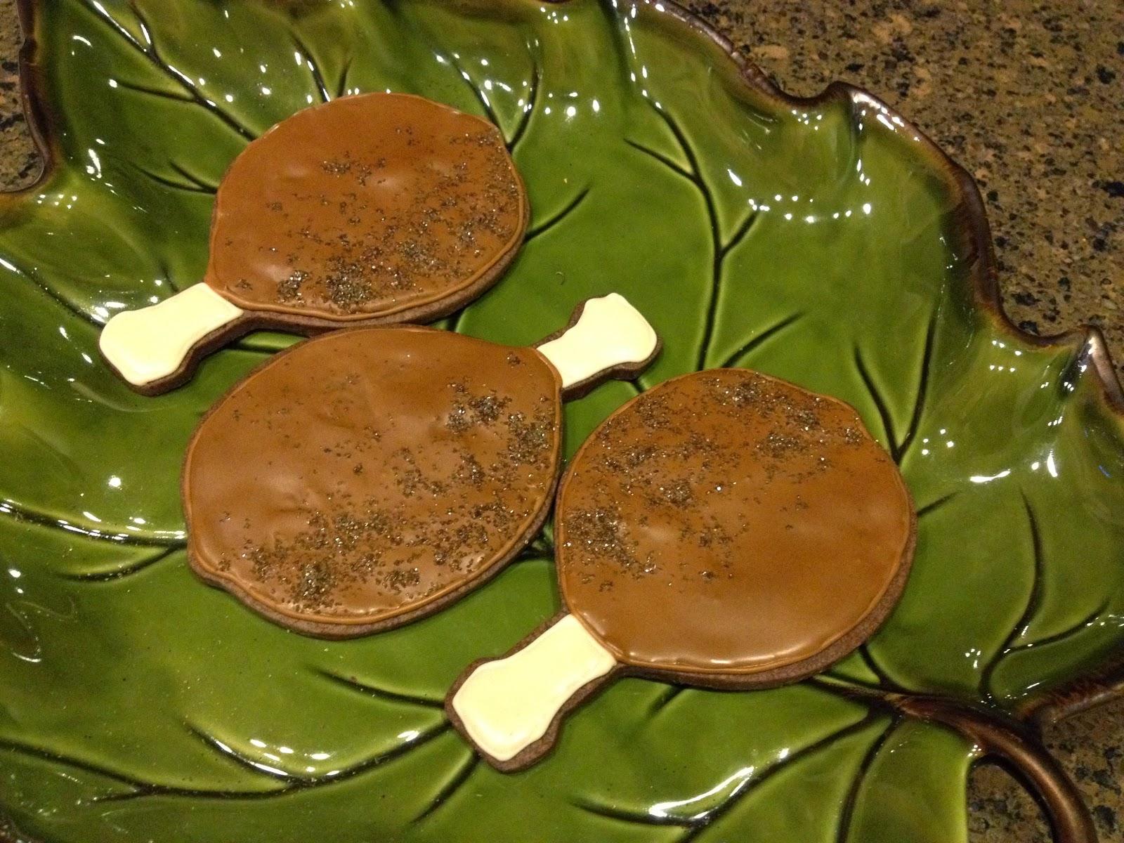 all things belle - sugar cookie art - thanksgiving turkey legs
