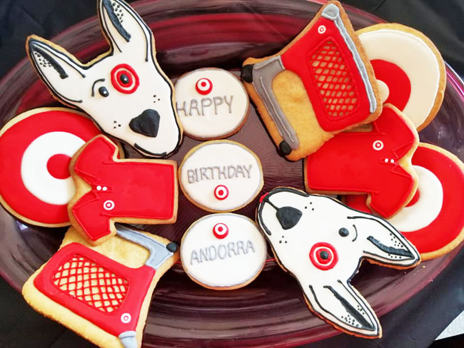 Target-themed birthday cookies
