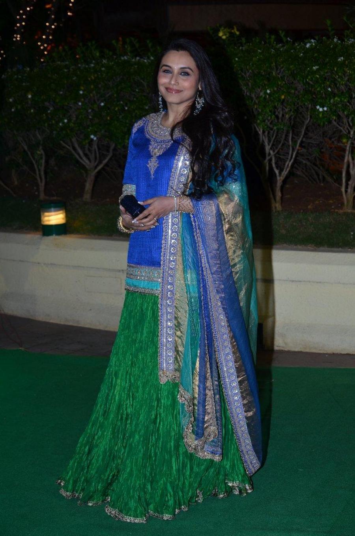 Rani Mukerji Hot Photos At Wedding Reception In Blue Dress
