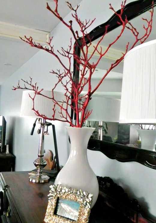 Red Painted Branch Decor in Vase Idea