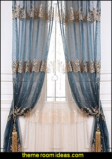 Blue Embroidered Sheer Curtains Flower Design For living Room Bed Room Beige Wedding Tulle Drapes Set