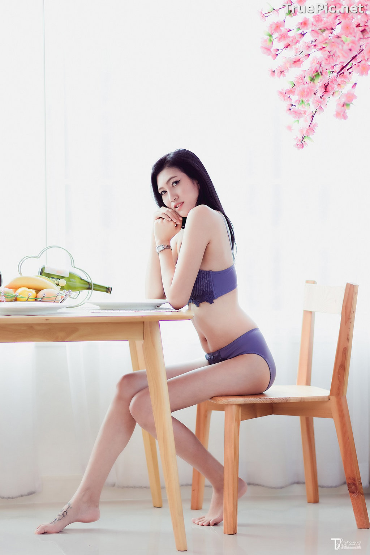Image Thailand Model - Sawinee Boonbunlu - Sexy Blue Purple Lingerie - TruePic.net - Picture-7
