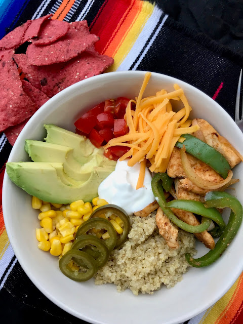 Finished chicken fajita bowl with tortilla chips