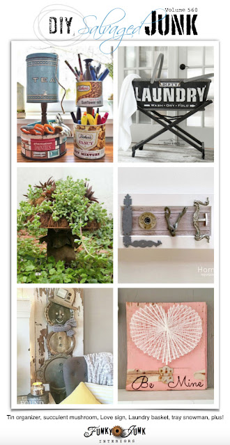 homewardFOUND decor diy silver tray snowman featured on Funky Junk Interiors DIY Salvaged Junk Projects party