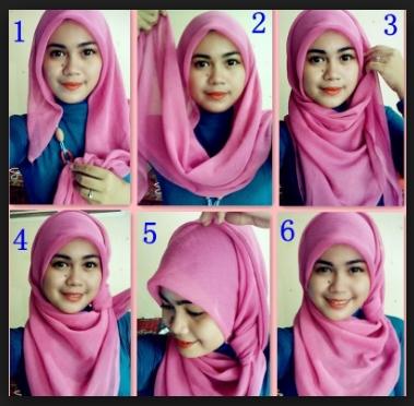 Tutrial jilbab pesta segi empat simpel glamour