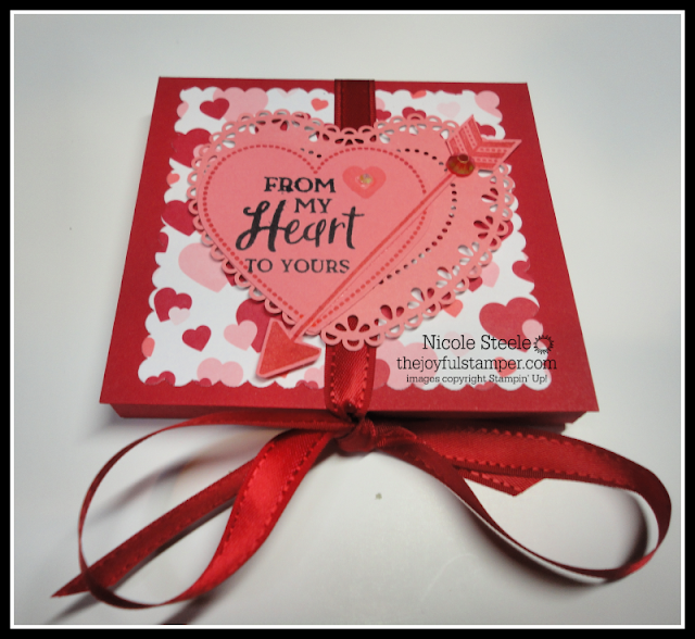 Easy Valentine candy holder using Stampin' Up!'s From My Heart suite | great for class parties | by Nicole Steele The Joyful Stamper