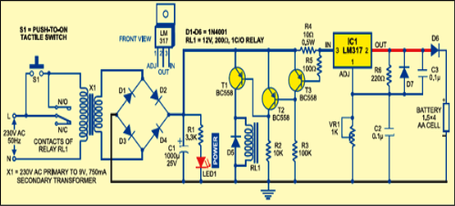 Simple Auto Turn Off Battery Charger Circuit Diagram
