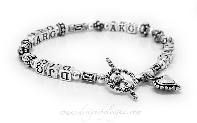 DJG - ARG - AKG - JWC Monogram bracelet for grandma with grandkids initials